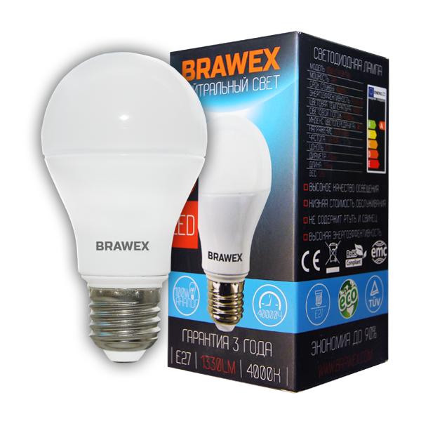 Светодиодная (LED) лампа BRAWEX 14Вт белый свет А60 Е27 Серия Premium A60 14W 220-240V 4000K E27 IC (0305D-A60-14N)
