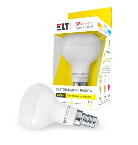 Светодиодная (LED) лампа ELT LED Accent R50-M 5W E14 3000