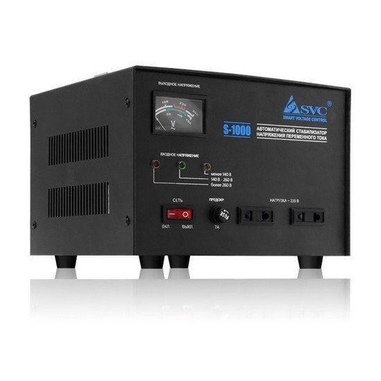 Стабилизатор SVC S-1000, 1000ВА / 800Вт, 220В, 50 Гц, чёрный, 250*238*185 мм