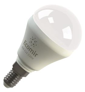 Светодиодная (LED) лампа Ecomir 4W(4вт),E14, 220V, желтый свет 3000к,световой поток 400лм (42906)