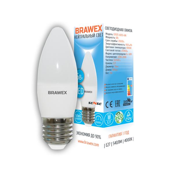 Светодиодная лампа BRAWEX SENSE свеча 6Вт 4000К B35 Е27 0707E-B35S-6N