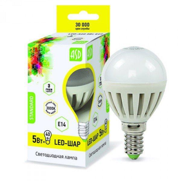 Лампа светодиодная ASD LED-ШАР-standard 5Вт 160-260В Е14 3000К 450Лм