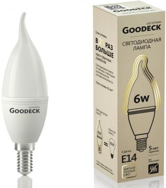 Светодиодная (LED) Лампа Goodeck 6Вт Свеча на ветру 230В 2700K E14 (GL1005021106)