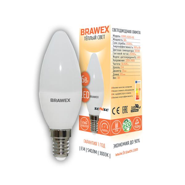 Светодиодная лампа BRAWEX SENSE свеча 6Вт 3000К B35 Е14 0707G-B35S-6L