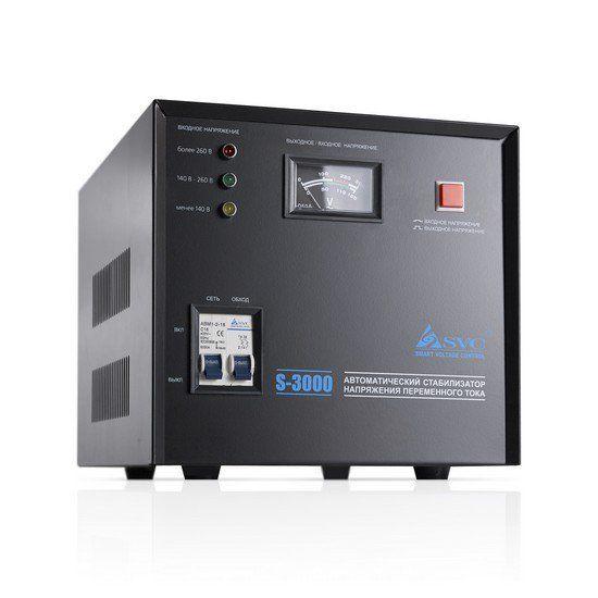 Стабилизатор SVC S-3000, 3000ВА / 2400Вт, 220В, 50 Гц, чёрный, 370*290*270 мм