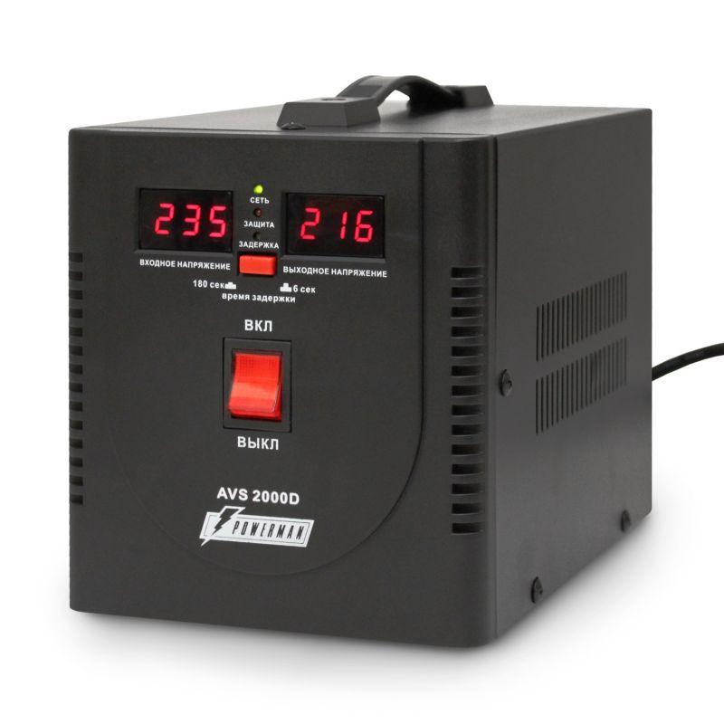 Однофазный стабилизатор напряжения POWERMAN AVS 2000D Black
