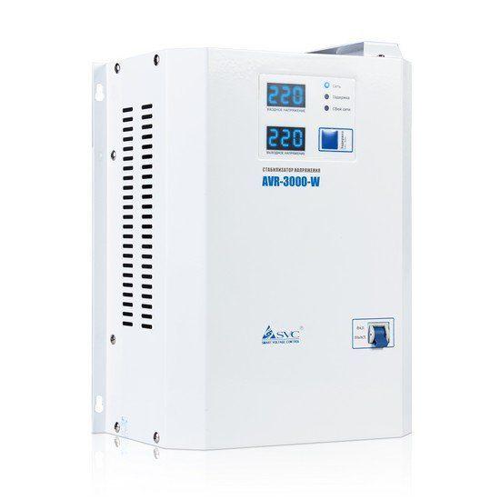Стабилизатор SVC AVR-3000-W, 3000ВА / 3000Вт, 220В, 50 Гц, белый, 315*255*120 мм