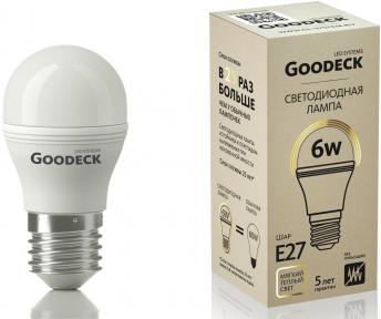 Светодиодная (LED) Лампа Goodeck 6Вт Шар G45 230В 2700K E27 (GL1001022106)