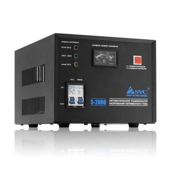 Стабилизатор SVC S-2000, 2000ВА / 1600Вт, 220В, 50 Гц, чёрный, 190*210*165 мм