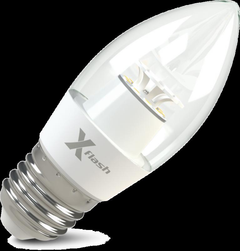 Светодиодная (LED) лампа X-Flash Candle E27 CF 6.5W(6.5вт),желтый свет 3000K,световой поток 500лм, 220V(в) (45976)