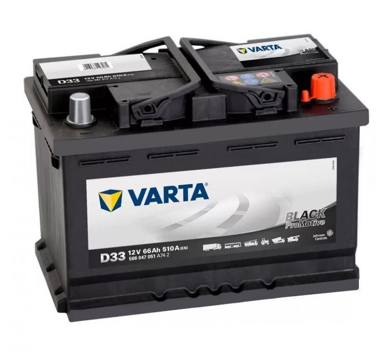Аккумуляторная батарея Varta Promotive Black 66Ач EN510А о.п. (278х175х190, B13) D33 / 566 047 051