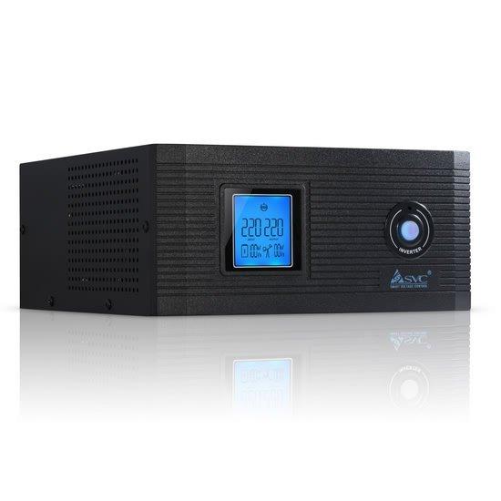 Инвертор SVC DI-1200-F-LCD, 1200ВА / 1000Вт, 220В, 50Гц, 3 мс, чёрный, 290*255*120 мм