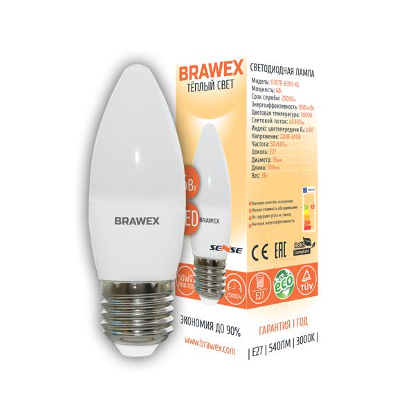 Светодиодная лампа BRAWEX SENSE свеча 6Вт 3000К B35 Е27 0707E-B35S-6L