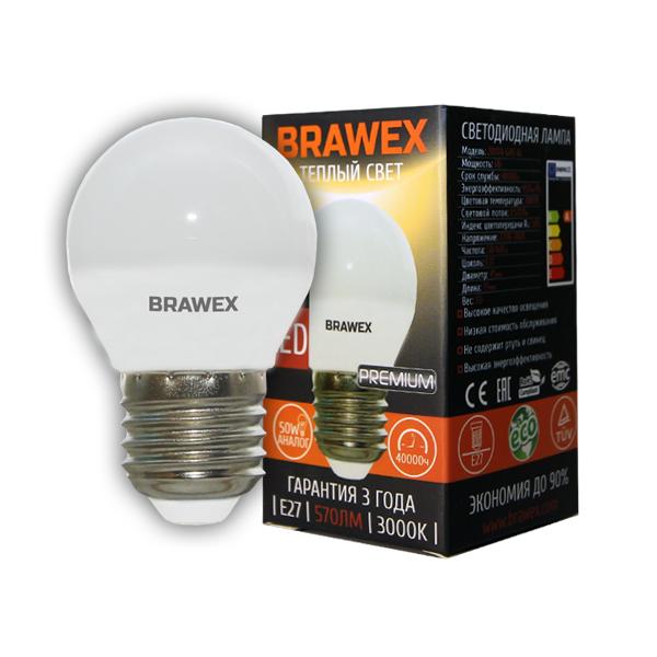 Светодиодная лампа BRAWEX шар 6Вт 3000К G45 Е27 2007A-G45-6L