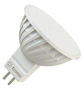 Светодиодная (LED) лампа Ecomir 4W(4вт), GU5.3, 220V, желтый свет 3000К, световой поток 300лм  (43354)