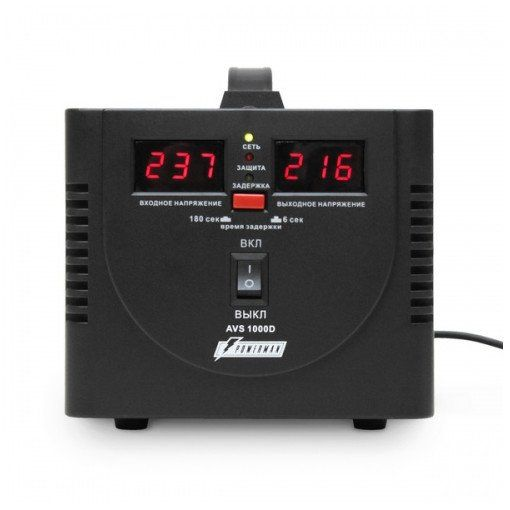 Однофазный стабилизатор напряжения POWERMAN AVS 500D Black
