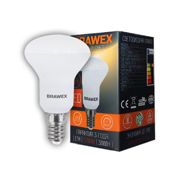 Светодиодная зеркальная лампа BRAWEX 6Вт 3000К R50 Е14 2906A-R50-6L
