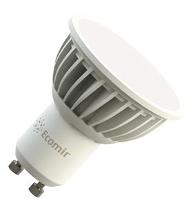 Светодиодная (LED) лампа Ecomir 5W(5вт), GU10, 220V, желтый свет 3000к, световой потк 350лм (43156)