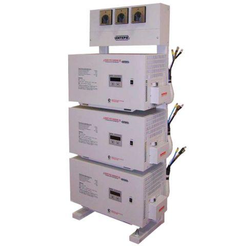 Трехфазный стабилизатор напряжения LIDER PS 15 SQ-25 в комплекте стойка LIDER 9-36 с ручным байпасом трехфазная (380 В)