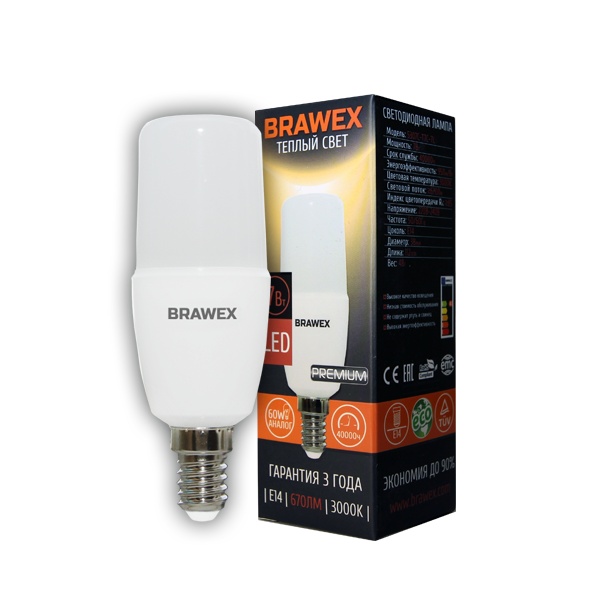 Светодиодная лампа BRAWEX 7Вт 3000К T7 Е14 5307C-T7C-7L