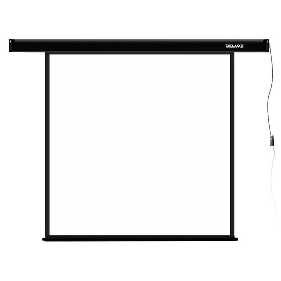 Проекционный экран, Deluxe, DLS-E203x, Моторизированный, 203x203, Matt white, Чёрный