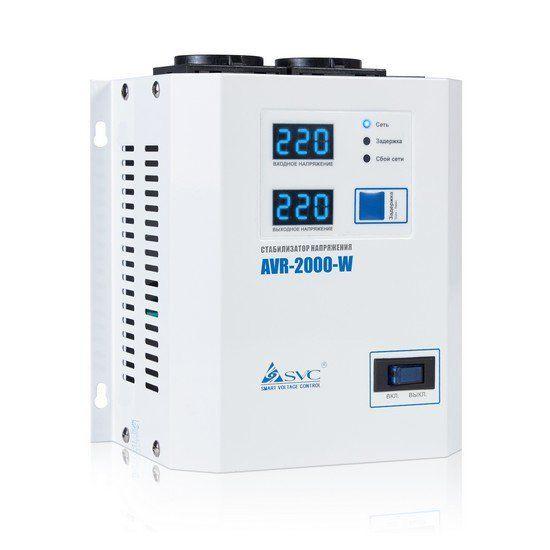 Стабилизатор SVC AVR-2000-W, 2000ВА / 2000Вт, 220В, 50 Гц, белый, 315*255*120 мм