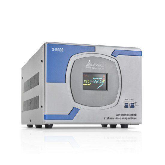 Стабилизатор SVC S-6000, 6000ВА / 5000Вт, 220В, 50 Гц, серый, 405*305*265 мм