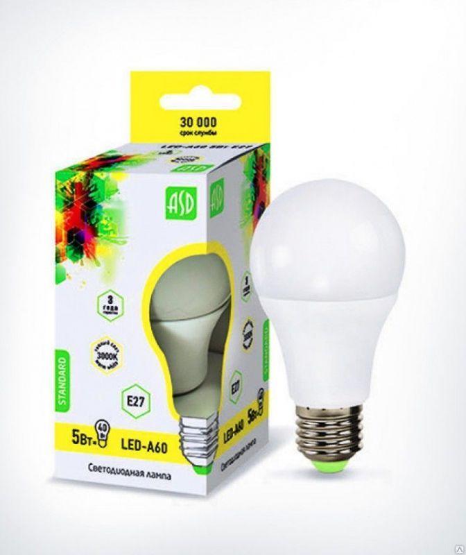 Лампа светодиодная ASD LED-A60-standard 5Вт 160-260В Е27 3000К 450Лм ASD