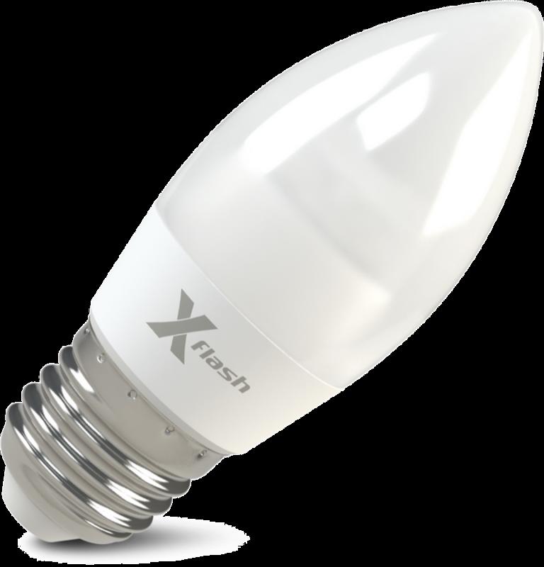 Светодиодная (LED) лампа X-Flash Candle E27 MF 6.5W(6.5вт),белый свет  4000K,световой поток 520лм, 220V(в) (46027)