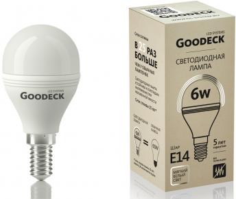 Светодиодная (LED) Лампа Goodeck 6Вт Шар G45 230В 2700K E14 (GL1001021106)