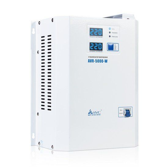 Стабилизатор SVC AVR-5000-W, 5000ВА / 5000Вт, 220В, 50 Гц, белый, 315*255*120 мм