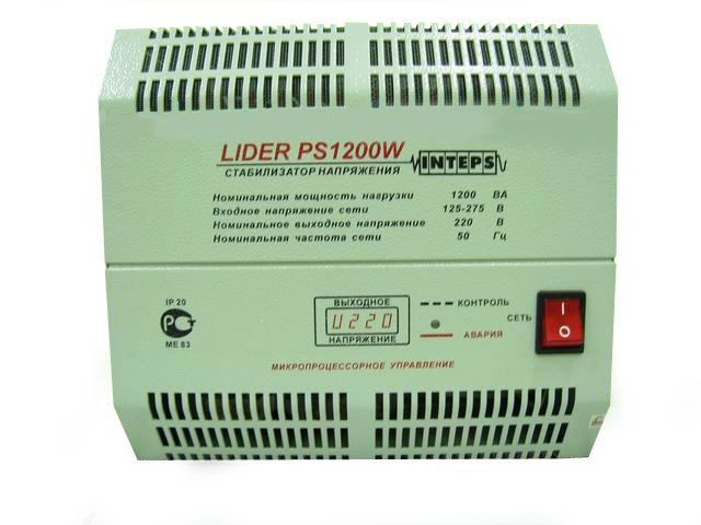 Однофазный стабилизатор напряжения LIDER PS 1200 W-30